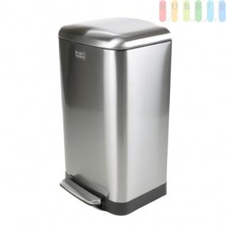Abfallbehälter, Treteimer mit Soft Close-Funktion, 30 Liter Mülleimer mit Deckel, Pedalöffnung, Edelstahl, herausnehmbarer Kunststoff-Einsatz, fingerabdruckfest