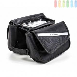 Fahrrad Rahmentasche von Dunlop, Handy-Tasche, Klett-Montage, Klett-Verschlüsse, reflektierendeStreifen, Größeca.20 x15 x15cm, Farbe Schwarz