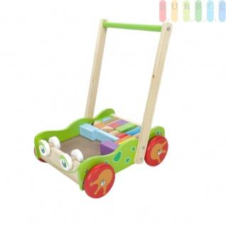 Lauflernwagen aus Holz mit Bausteinen, 23 Teile, Babylaufhilfe mit 4 Rädern, Handgriff und 22 bunten Holz-Bauklötzen