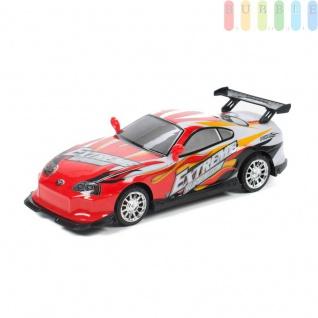 Spielzeugauto von EDDY TOYs mit Sound, Licht und Friktionsantrieb, Längeca.24cm, Batterien inklusive, Farbe Rot/Weiß