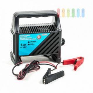 Batterieladegerät von ALL Ride für Bleibatterien, Kabelhalterung, LED-Kontrollleuchten, mobil, handlich, Leistung 12V/4A