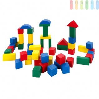 50 Stück Holzbausteine, bunt lackiert, Trommel mit Deckel und Tragegriff, 6 Formen farbige Bauklötze aus Holz für Kleinkinder, Trommelgröße (HxØ) ca. 16 x 18 cm,