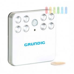LED-Notbeleuchtung von Grundig mit Bewegungsmelder, PIR-Sensor, 8 LEDs, Wandhalterung, Batteriebetrieb, Größe ca. 10 x 10 x 2 cm