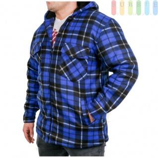 Thermohemd, leichte Arbeitsjacke mit Kapuze, Teddyfutter, wattierten Ärmeln, modernesKaro-Design, 2 Brust- und 2 Einschubtaschen, Reißverschluss, Farbe blau, Größe M