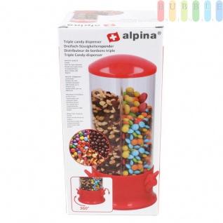 Dreifach-Süßigkeiten- und Snackspender von Alpina, 3 Fächer, Sockel um 360° drehbar, ca. 31 cm, rot/farblos