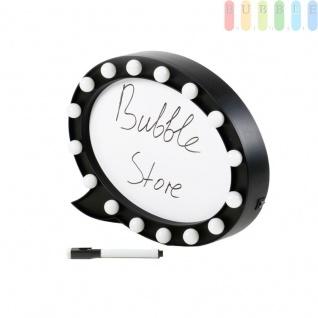 Sprechblasen-Schreibtafel im Comic-Stil von Grundig, oval, 16 LEDs, 1 abwischbarer Marker, Batteriebetrieb, ca. 32 x 23 x 5 cm, schwarz/weiß