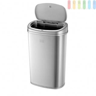 Abfalleimer, Müllbehälter Deckel mit Sensor-Technologie und Absenkautomatik, fingerabdruckfester Edelstahl, Volumen 50 Liter, (H) ca. 67 cm, silber