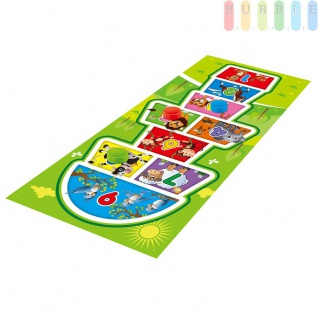 Kinder Hüpfkästchen Spielmatte für 1-4 Kinder mit 4 Spielscheiben, Hüpfspiel-Matte für Indoor & Outdoor, ca. 200 x 90 x 0, 2 cm