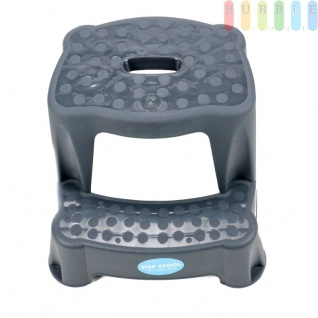 2 Tritt-Hocker für Kinder als Stehhilfe fürs Waschbecken und zum Sitzen, gummierte Füße, 2 Stufen, aufgeraute Stehfläche, Eingriff zum Tragen, leicht, Kunststoff, Tragkraft max. 45 kg, Farbe Anthrazit