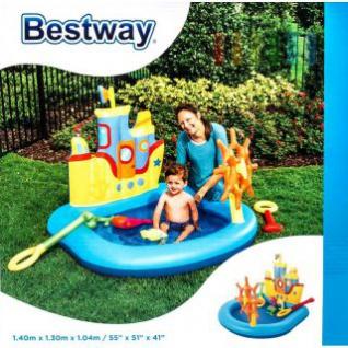 Kinderplanschbecken von Bestway Piratenboot-Design, Spielzeug-Set 6-teilig, Volumen ca. 84 l