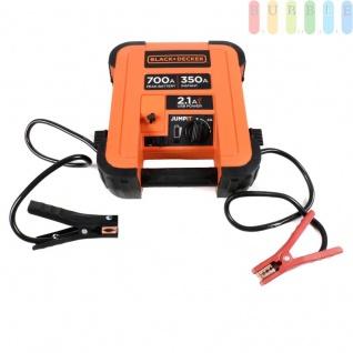 Jump It Starthilfegerät für KFZ-Motoren von Black + Decker, Netzladeadapter inkl. ca.180 cm Kabel, Plus- + Minusklemmen, Ein-Aus-Schalter, LED-Anzeige, Tragegriff, 12V /350A