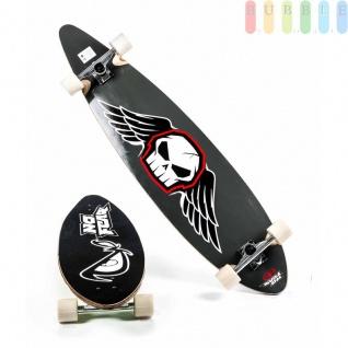 Longboard von No Fear mit Holz-Deck, Kunststoffrollen, Kugellager ABEC7, Alu-Truck, Grip-Tape, Größe44''/112cm, Design Skull in grau