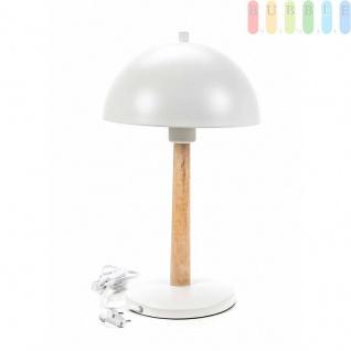 Tischlampe von Grundig, Holz-Metall-Materialmix, Designskandinavisch, Formrund, E27/25W/9Wmax.