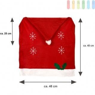 1x Weihnachtssitzbezug, weihnachtliche Stuhlhusse aus Filz in Form einer Weihnachtsmütze mit Bommel, Sternen, Stechpalmenblätter mit roten Beeren - Vorschau 3
