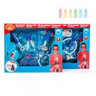 Kinder-Doktor-Spielset von EDDY TOYs, 7-teilig, Stethoskop mit Licht und Sound, lieferbar in 2-Varianten