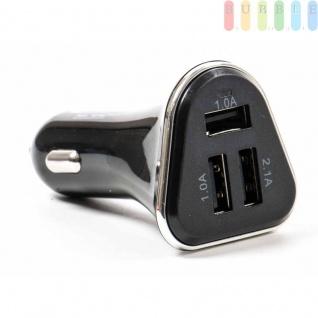 USB-Adapter/-Ladegerät ALL Ride für Zigarettenanzünder mit 3USB-Buchsen, 12/24V, 5V/4, 1A, Farbe Schwarz