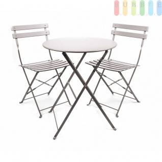 Bistro Balkon Garten Set 3 teilig, Klapptisch Ø 60 cm 2x Klappstühle, Retro-Design, für innen und außen, Farbe grau