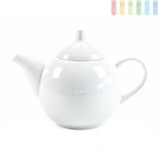 Teekanne von Alpina aus Keramik, formschön, Design zeitlos, stilvoll, Volumenca.1 Liter, weiß