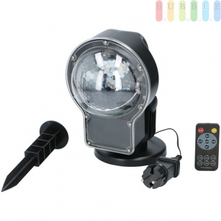 LED-Projektor Schneefall mit RF-Fernbedienung, Reichweite 30 m, Timer 1 - 6 Std., 2 Geschwindigkeiten, Schneefall weiß oder bunt, kippbar, Netzkabel, Indoor/Outdoo