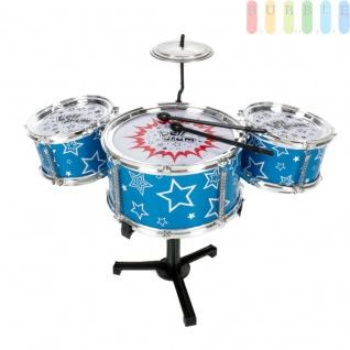 Spielzeug-Drum-Set für Kinder, 7 Teile, Jazz-Drums mit 2 Sticks, 2 kleinere und 1 größere Trommel, Trommelständer und Becken, Schlaginstrument zum Einstieg in die Musik