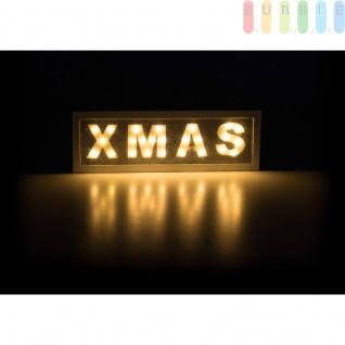 Schriftzug XMAS von Arti Casa beleuchtet, 25LEDs, robustesMDF, batteriebetrieben, freistehend, weiß, Breiteca.40cm