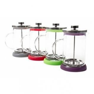 Kaffee-/Teebereiter von Cuisine Elegance, Volumen 800 ml, Glaskorpus, Edelstahl-Deckel und -Pressstempel, lieferbar in den Farben Rot, Grau, Grün oder Violett