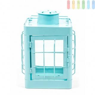 Metalllaterne von Arti Casa kompakt, Postionslampen-Design, Glaseinsätze, modern, Größeca.24, 5cm, Farbe Blau
