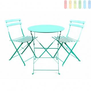 Bistro Balkon Garten Set 3 teilig, Klapptisch Ø 60 cm 2x Klappstühle, Retro-Design, für innen und außen, Farbe türkis