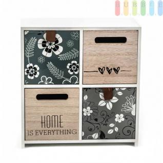 Mini-Kommode Arti Casa aus MDF, 4Schubladen, Shabby-Look, Design Flowers, freistehend, weiß, Größeca.22x23x10cm