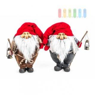 Weihnachtsmann / Nikolaus von Christmas Gifts, Laterne am Holzstab, Textil, Plüsch, Wichtel-Design, Höhe ca. 50 cm, 2 Modelle