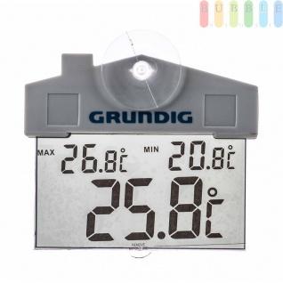 Außenthermometer von Grundig mit Datum- und Zeitanzeige, Saugnapf, digital, wasserfest