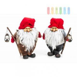 Weihnachtsmann / Nikolaus von Christmas Gifts, Laterne am Holzstab, Textil, Plüsch, Wichtel-Design, Höhe ca. 36 cm, 2 Modelle