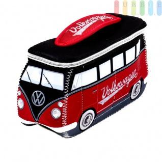 VW T1 Bus Neopren-Tasche in 3D-Optik, multifunktional, VW-Kollektion, Retro-Design, doppelter Reißverschluss, Innentaschen, Henkel, Größe ca. 24 x 12 x 8 cm, rot /schwarz