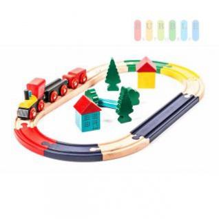 Holz-Eisenbahn-Set für Kinder, inklusive Schienen, Zug und Dekoration, lackiert, 19 Teile