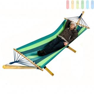 Stab-Hängematte mit Holzgestell, Kopfkissen, 100 % Baumwolle, leuchtende Farben, Indoor und Outdoor tauglich, Länge ca. 3, 23 m, Liegefläche (LxB) ca. 210 x 100 cm, Farbe blau/grün