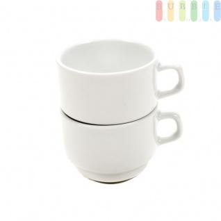 Kaffeetassen Teetassen 2-er Set von Porvasal, Stapeltasse aus Porzellan für Privathaushalt, Gastronomie und Catering, weiß