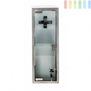 Medizinschrank abschließbar, Medikamentschrank aus Edelstahl, Glastür mit Schloss, 2 Schlüssel, inklusive Montagematerial, Maße ca. 45 x 15 cm