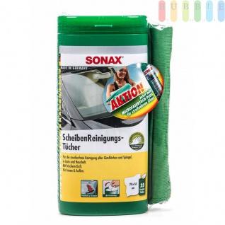 Scheibenreinigungs-Tücher Plus von Sonax in Spenderbox, Auto und Haushalt, Spiegel und Glas, frischer Duft, 25Stück plus Mikrofasertuch
