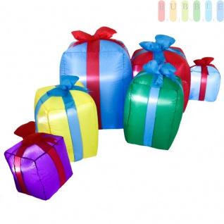 Aufblasbare Weihnachtsdeko, 6 zusammenhängende Weihnachtspakete mit Gebläse von Christmas Gifts, beleuchtet, bunt, Indoor/Outdoor, Länge ca.240cm