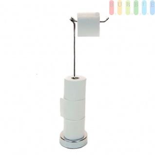 Toilettenpapierhalter mit Schwenkkopf (360° Rotation) für Bad und WC von Bath & Shower, ohne Bohren, frei stehend, Toilettenpapierhalter für 5 Rollen, verchromtes Edelstahl
