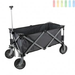 Faltbarer Rollwagen, Bollerwagen für Einkauf, Camping, Ausflug, Kindertransport, schnelles Ein- und Ausklappen, Vorderräder 360° drehbar, Stahlrohrrahmen, kompakt unterzubringen, trägt max. 70 kg