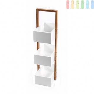 Bambus-Kistenregal von Homestyle, Bambusgestell, MDF-Kisten, 3Boxen, Materialmix, natur-weiß, Höheca.65cm
