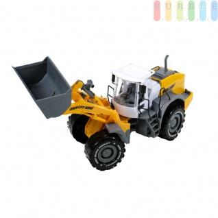 Spielzeug-Bagger für Kinder von Gear Box, mit Friktionsantrieb, Baggerschaufel hoch- und runterfahrbar, kippbar, Motorhaube zu öffnen, Maßstab 1:16