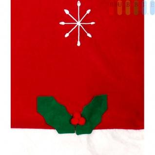 1x Weihnachtssitzbezug, weihnachtliche Stuhlhusse aus Filz in Form einer Weihnachtsmütze mit Bommel, Sternen, Stechpalmenblätter mit roten Beeren - Vorschau 4