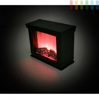 Deko Kamin mit flackernder Flamme von Grundig, Leuchte in Kamin-Optik mit 7 LEDs, batteriebetrieben, An/Aus-Schalter, 6 Std.-Timer, Höhe ca. 20, 5 cm, Farbe Schwarz