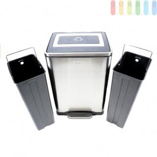 Recycling Abfalltrenner, 40 Liter Abfallbehälter mit Deckel, Pedalöffnung, Edelstahl, Treteimer 2 herausnehmbare Kunststoff-Einsätze zur Mülltrennung, fingerabdruckfest