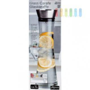 Glaskaraffe handgefertigt mit Edelstahl-Deckel, Sieb integriert, Volumen ca. 1 Liter, Höhe ca. 34 cm