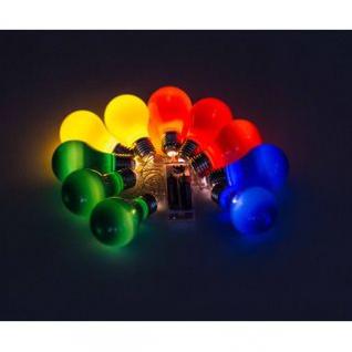 LED-Lichterkette von Party Lighting, 10 LEDs, Glühbirnen-Design, multicolor, batteriebetrieben, Länge ca. 165 cm