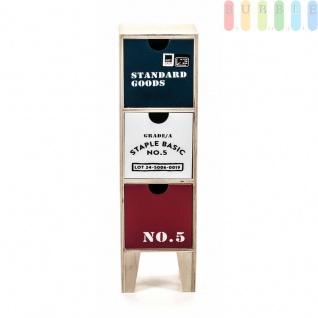 Mini-Kommode von Arti Casa aus MDF, 3Schubladen, 4Füße, Industrie-Design, freistehend, Höheca.40cm, große Mini-Kommode