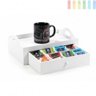 Serviertablett mit Schublade von ARTI CASA, Holz lackiert, Skandinavien-Design, 7Fächer, weiß